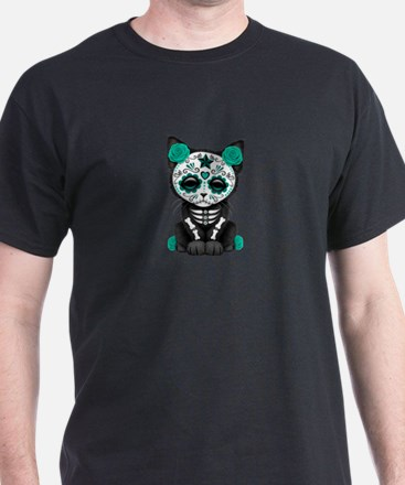 Cute Teal Day of the Dead Kitten Cat T-Shirt