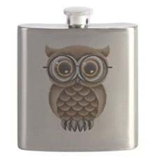 Cute Fluffy Brown Owl with Reading Glasses Flask