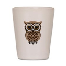 Cute Fluffy Brown Owl with Reading Glasses Shot Gl