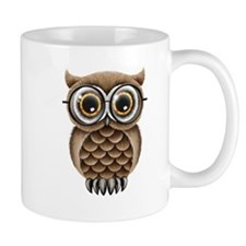 Cute Fluffy Brown Owl with Reading Glasses Mugs