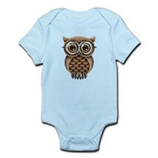 Cute Fluffy Brown Owl with Reading Glasses Body Su