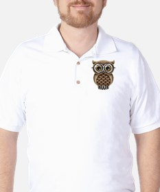 Cute Fluffy Brown Owl with Reading Glasses T-Shirt