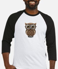 Cute Fluffy Brown Owl with Reading Glasses Basebal