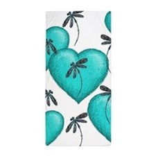 Love Hearts and Dragonflies Turquoise Beach Towel