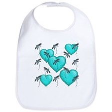 Love Hearts and Dragonflies Turquoise Bib