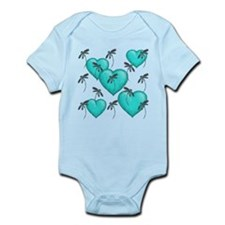 Love Hearts and Dragonflies Turquoise Body Suit