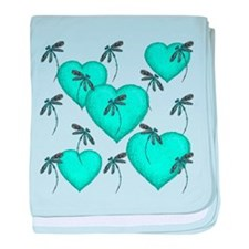 Love Hearts and Dragonflies Turquoise baby blanket