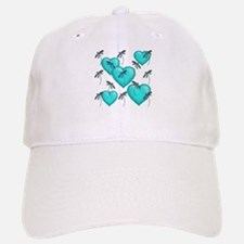 Love Hearts and Dragonflies Turquoise Baseball Baseball Cap