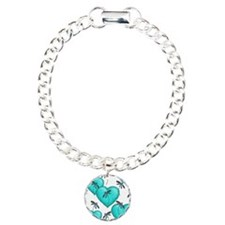 Love Hearts and Dragonflies Turquoise Bracelet
