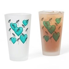 Love Hearts and Dragonflies Turquoise Drinking Gla