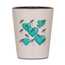 Love Hearts and Dragonflies Turquoise Shot Glass