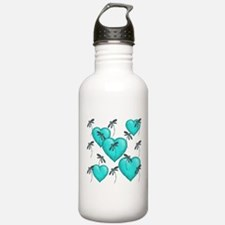 Love Hearts and Dragonflies Turquoise Sports Water