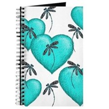 Love Hearts and Dragonflies Turquoise Journal