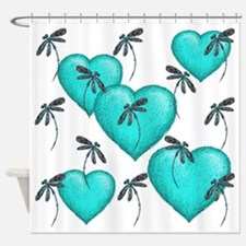 Love Hearts and Dragonflies Turquoise Shower Curta