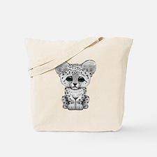 Cute Baby Snow Leopard Cub Tote Bag