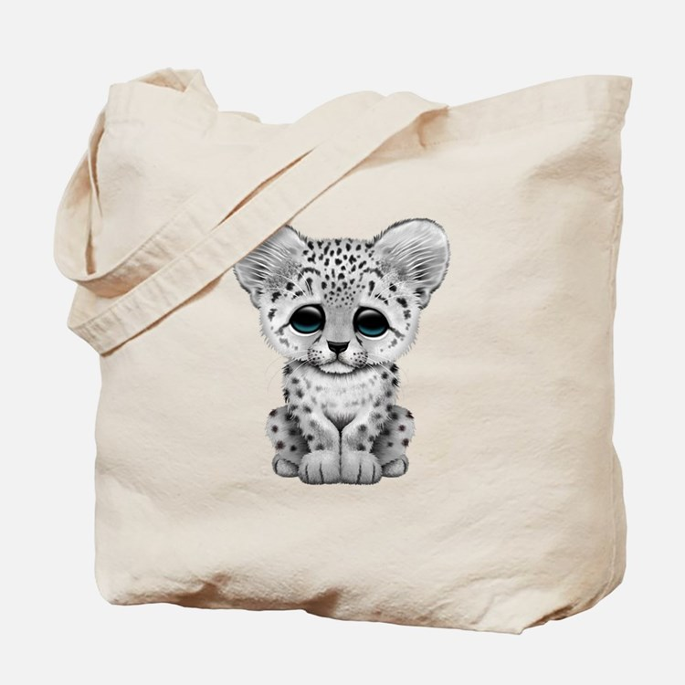 Cute Baby Snow Leopard Cub Tote Bag