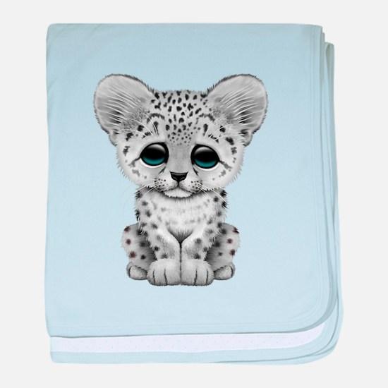 Cute Baby Snow Leopard Cub baby blanket