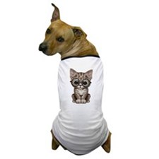 Cute Tabby Kitten with Eye Glasses Dog T-Shirt