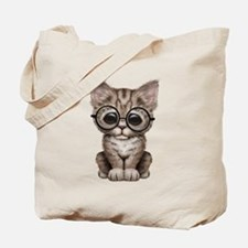 Cute Tabby Kitten with Eye Glasses Tote Bag
