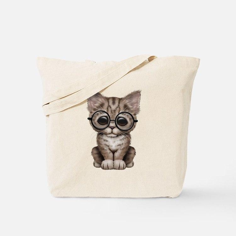 Cute Tabby Kitten with Eye Glasses Tote Bag