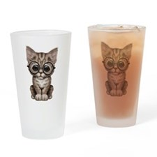 Cute Tabby Kitten with Eye Glasses Drinking Glass