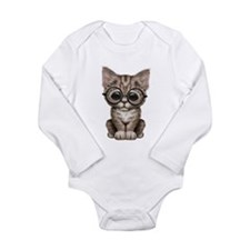 Cute Tabby Kitten with Eye Glasses Body Suit