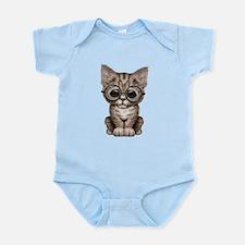 Cute Tabby Kitten with Eye Glasses Body Suit