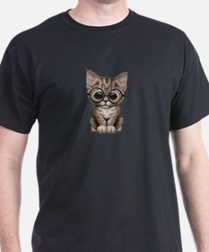 Cute Tabby Kitten with Eye Glasses T-Shirt