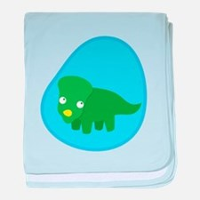 Little green dinosaur in the womb baby blanket