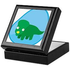 Little green dinosaur in the womb Keepsake Box