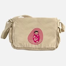 Cute baby babushka in pink womb Messenger Bag