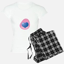 blue Heart in pink womb pregnancy maternity pajama