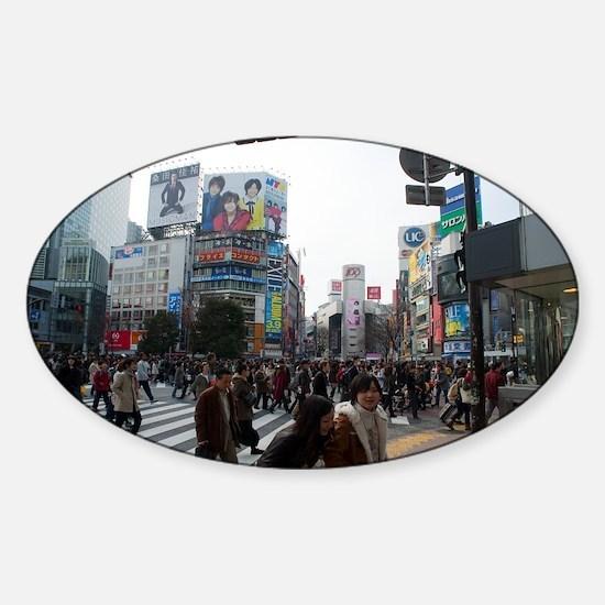 shibuya crosswalk Sticker (Oval)