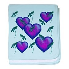 Love Hearts and Dragonflies Purple Blues baby blan