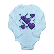 Love Hearts and Dragonflies Purple Blues Body Suit