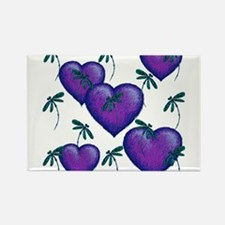 Love Hearts and Dragonflies Purple Blues Magnets