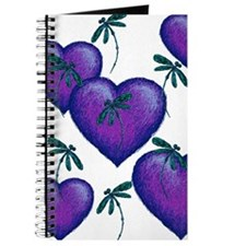 Love Hearts and Dragonflies Purple Blues Journal