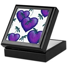 Love Hearts and Dragonflies Purple Blues Keepsake