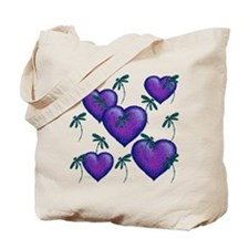 Love Hearts And Dragonflies Purple Blues Tote Bag