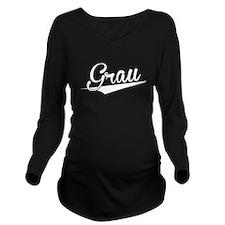 Grau, Retro, Long Sleeve Maternity T-Shirt