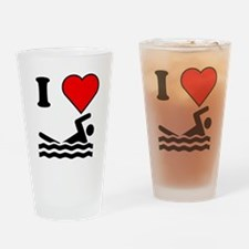 I Heart Swimming Drinking Glass
