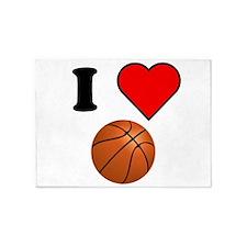 I Heart Basketball 5'x7'Area Rug