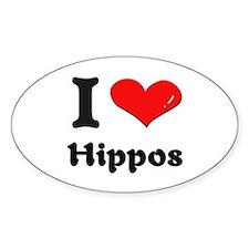 I love hippos Oval Decal
