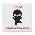 Ninja Construction Worker Tile Coaster