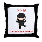 Ninja Construction Worker Throw Pillow
