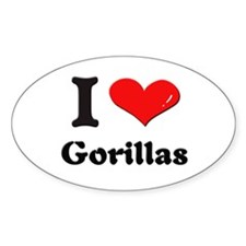 I love gorillas Oval Decal