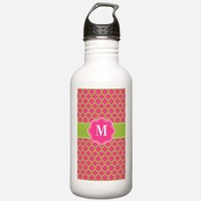 Pink Green Quatrefoil Monogram Water Bottle