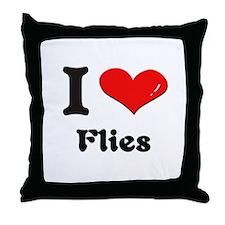 I love flies  Throw Pillow