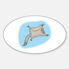 Funny Flying Squirrel Oval Decal