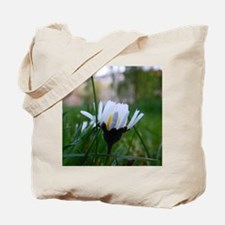 White Macro Flower Tote Bag